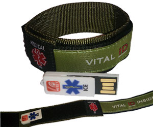 Olive Green Emergency ID Wristband (Large)