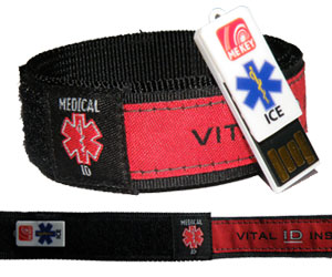 emergency id wristband red (large)