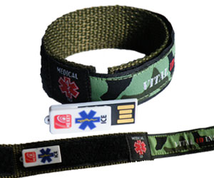medical id wristband green camo (medium)