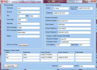 personal id screen