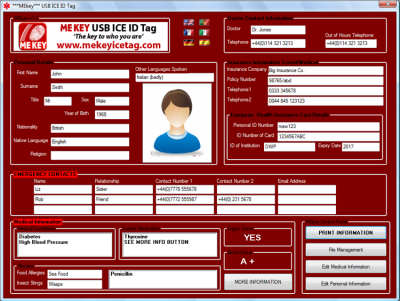 first responder emergency id screen